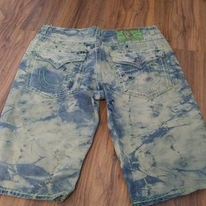 Mens multi colored denim shorts